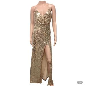 Gold sequin gown XL stretch